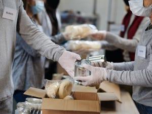 Volunteers in a Food bank