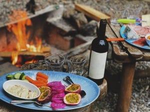 camping, glacière, vin