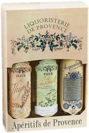 Coffret-dégustation avec 3 liqueurs de la Liquoristerie de Provence