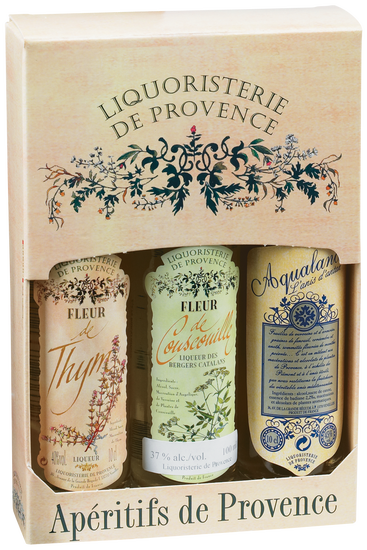 Sampler box with 3 liqueurs from Liquoristerie de Provence