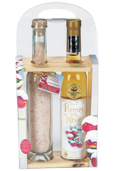 Domaine Lafrance gift box: bath salts with a bottle of ice cider