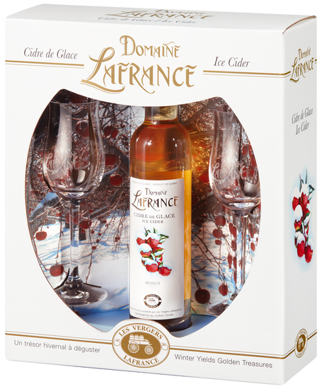 Domaine Lafrance gift box: 2 glasses and a bottle of ice cider