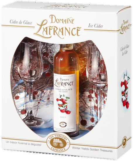 Coffret Domaine Lafrance : deux verres avec une bouteille de cidre de glace