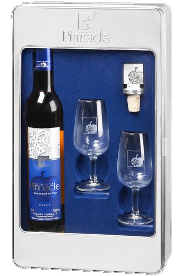 Coffret Domaine Pinnacle : deux verres, un bouchon en étain et une bouteille de cidre de glace
