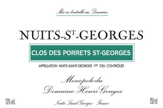 Domaine Henri Gouges Nuits-Saint-Georges Premier Cru Clos des Porrets St-Georges