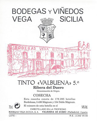 Bodegas Vega Sicilia Valbuena 5°