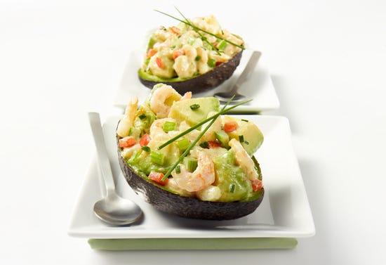 Avocado with nordic shrimp