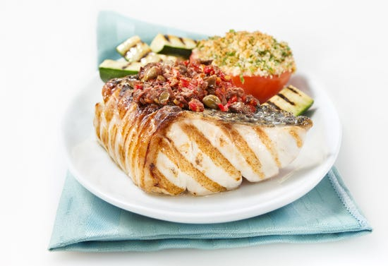 Grilled bass with tomato tapenade