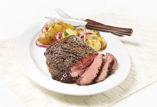 Flank steak with red wine, peppercorn and cumin