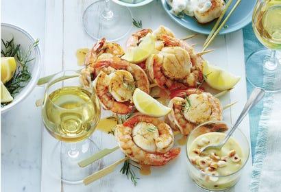 Brochettes de fruits de mer