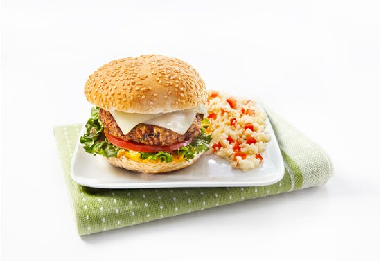 Lamb burgers with strong cheddar, chipotle sauce