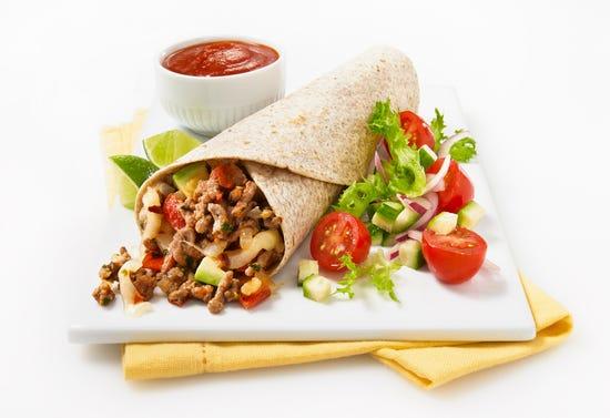 Mexican beef burritos