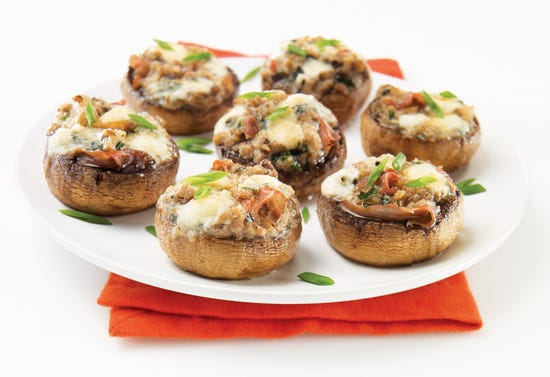 Mushroom, prosciutto and blue cheese canapés