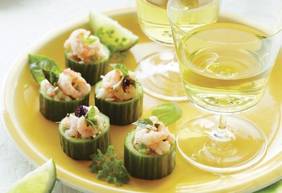 Cucumber-shrimp canapés