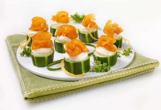 Canapés saumon fumé et concombre