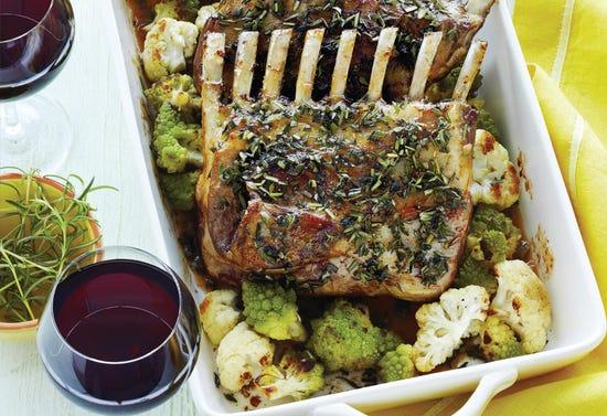 Racks of lamb with rhubarb sauce