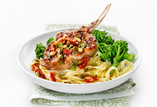 Barbecue veal chops with sun-dried tomatoes