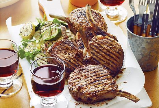Barbecued smoked-paprika pork chops