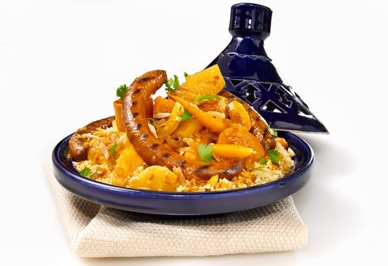 Couscous with merguez sausages