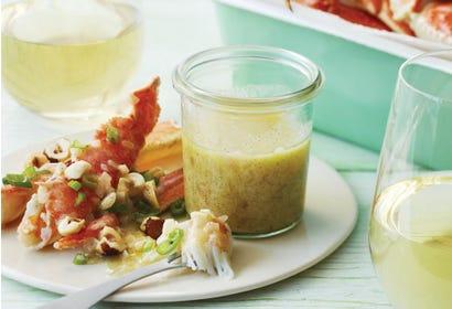 Crabe des neiges, beurre blanc à la vanille et noisettes grillées