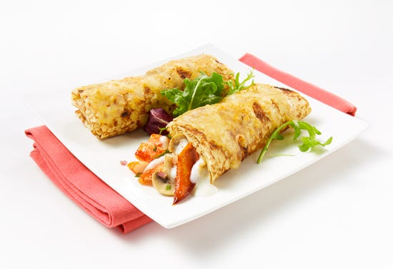 Crepes with lobster