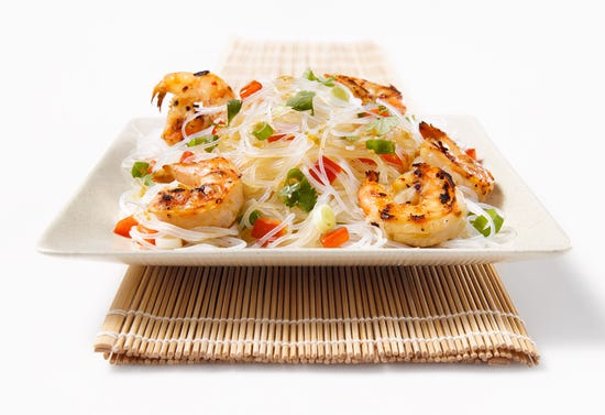 Grilled shrimp with coconut milk and rice noodles