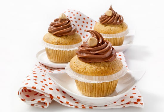 Chocolate and hazelnut cupcakes flavoured with liqueur