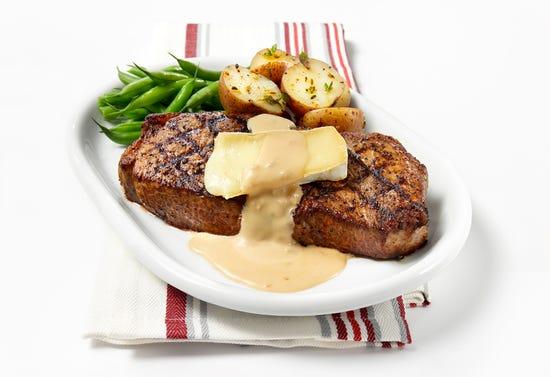Sirloin steak with brie