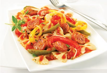 Farfalle with sausage Image