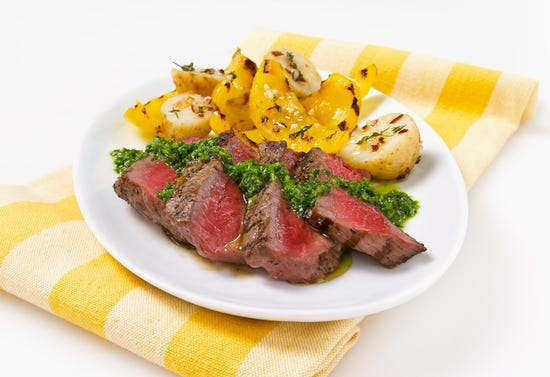 Beef tenderloin with chimichurri sauce