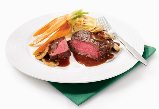 Ostrich filet mignon with sauce chasseur