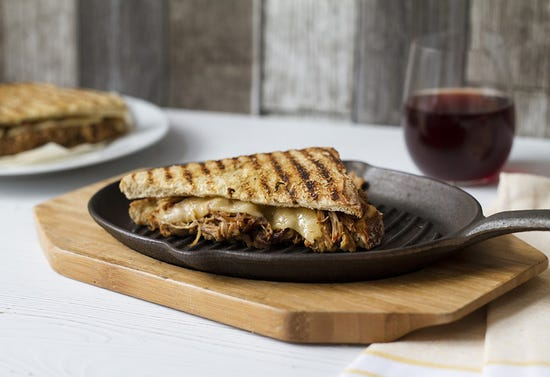 Grilled cheese sandwich with pulled pork, Dijon and strong cheddar