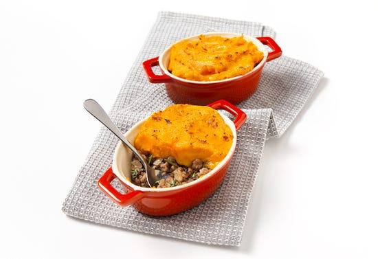 Lamb and sweet potato shepherd's pie in mini casserole