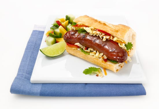 Hot-dogs à l'asiatique avec saucisse au canard