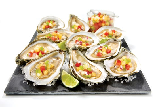 Oysters with sweet and sour salsa