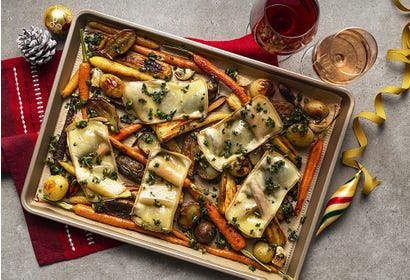 Roasted root vegetables and raclette cheese Image