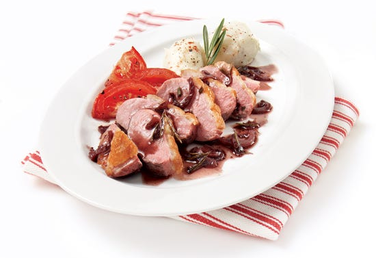 Duck breast with red wine sauce