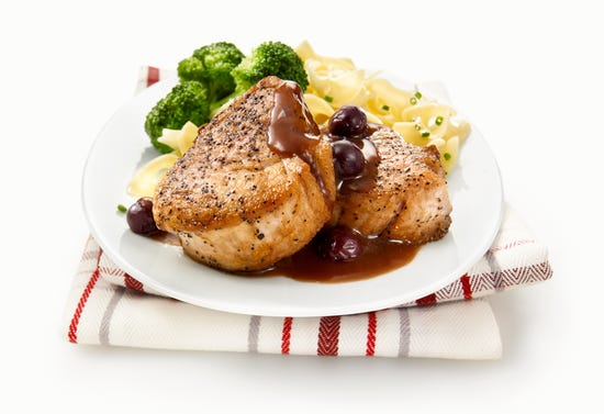 Pork medallions with port and blueberry sauce