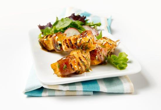 Chicken, pineapple and serrano ham mini skewers