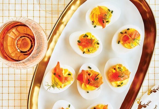 Devilled eggs with smoked salmon