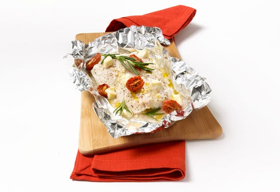 "Haddock with grape tomato confit and feta ""en papillote"""