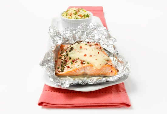"""Trout """"en papillote"""" with Gouda"""