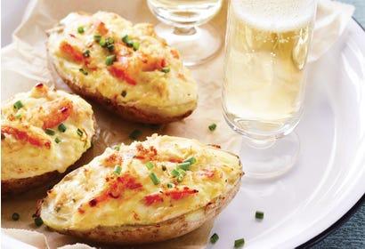 Crab-stuffed potato skins Image