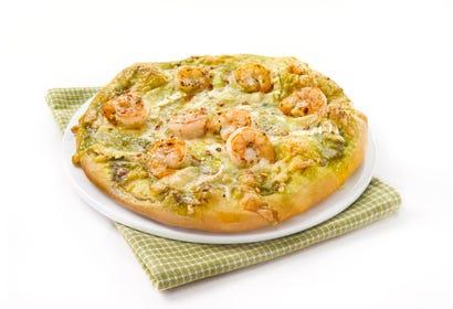 Pizza aux crevettes, pesto et chèvre Image
