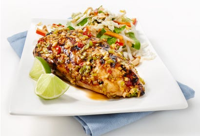 Barbecued Asian chicken breast with bean sprout salad Image