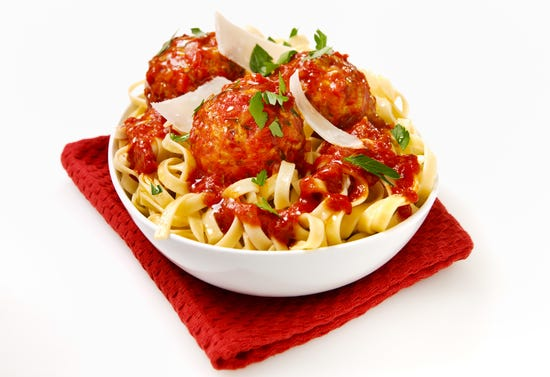 Polpettes (veal meatballs with Parmesan and tomato sauce)