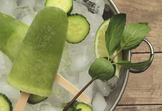 Honeydew melon and cucumber Margarita poptails