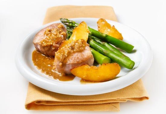 Pork and apples flambéed with Calvados