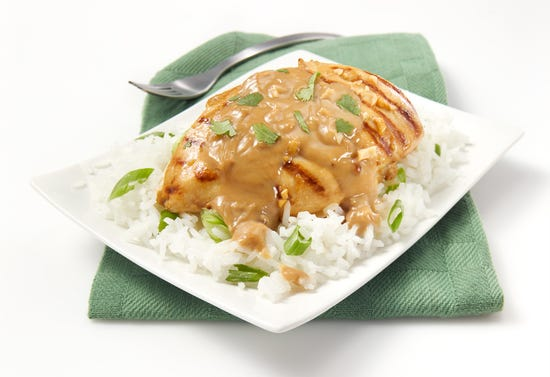 Grilled chicken breast with peanut sauce