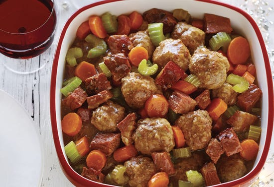 Ragoût de boulettes et sauce au smoked meat à la mijoteuse